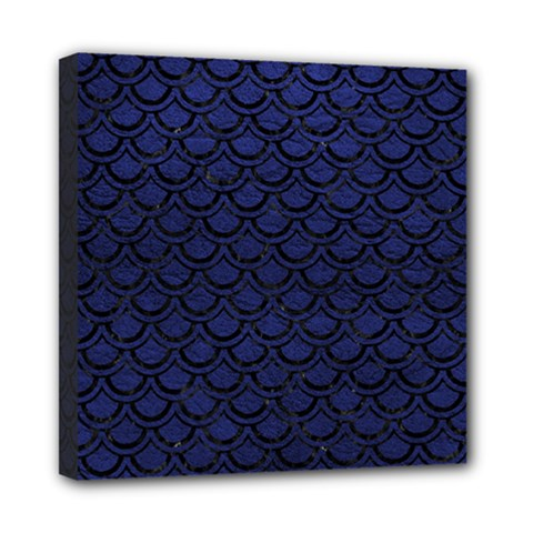 Scales2 Black Marble & Blue Leather (r) Mini Canvas 8  X 8  (stretched) by trendistuff