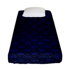 Scales2 Black Marble & Blue Leather (r) Fitted Sheet (single Size) by trendistuff