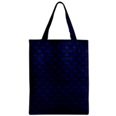 Scales2 Black Marble & Blue Leather (r) Zipper Classic Tote Bag by trendistuff