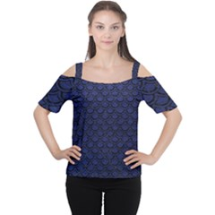 Scales2 Black Marble & Blue Leather (r) Cutout Shoulder Tee by trendistuff
