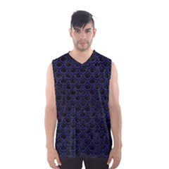 Scales2 Black Marble & Blue Leather Men s Basketball Tank Top by trendistuff
