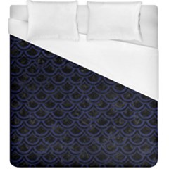 Scales2 Black Marble & Blue Leather Duvet Cover (king Size) by trendistuff