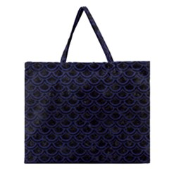 Scales2 Black Marble & Blue Leather Zipper Large Tote Bag by trendistuff