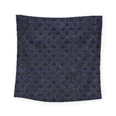 Scales2 Black Marble & Blue Leather Square Tapestry (small) by trendistuff
