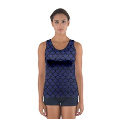 Scales1 Black Marble & Blue Leather (r) Sport Tank Top  by trendistuff