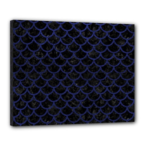 Scales1 Black Marble & Blue Leather Canvas 20  X 16  (stretched) by trendistuff