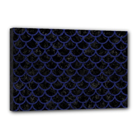 Scales1 Black Marble & Blue Leather Canvas 18  X 12  (stretched) by trendistuff
