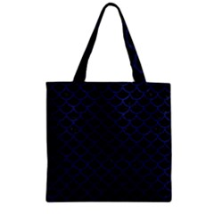 Scales1 Black Marble & Blue Leather Zipper Grocery Tote Bag by trendistuff