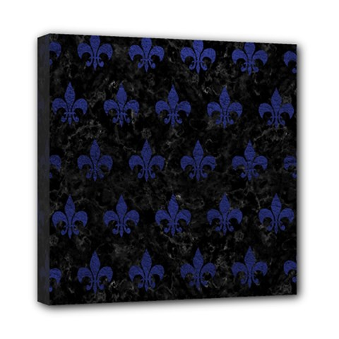 Royal1 Black Marble & Blue Leather (r) Mini Canvas 8  X 8  (stretched) by trendistuff