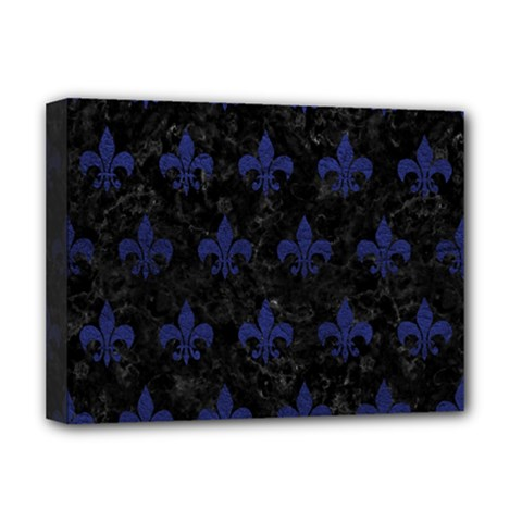 Royal1 Black Marble & Blue Leather (r) Deluxe Canvas 16  X 12  (stretched)  by trendistuff
