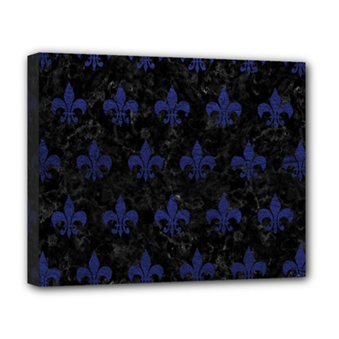 Royal1 Black Marble & Blue Leather (r) Deluxe Canvas 20  X 16  (stretched) by trendistuff