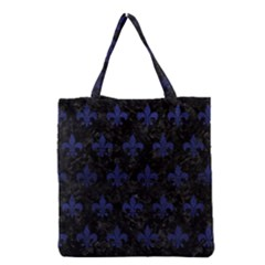 Royal1 Black Marble & Blue Leather (r) Grocery Tote Bag by trendistuff