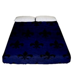 Royal1 Black Marble & Blue Leather Fitted Sheet (queen Size) by trendistuff