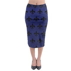 Royal1 Black Marble & Blue Leather Midi Pencil Skirt by trendistuff