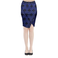 Royal1 Black Marble & Blue Leather Midi Wrap Pencil Skirt by trendistuff