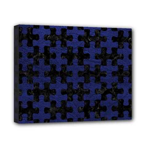 Puzzle1 Black Marble & Blue Leather Canvas 10  X 8  (stretched) by trendistuff