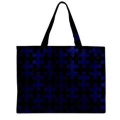 Puzzle1 Black Marble & Blue Leather Zipper Mini Tote Bag by trendistuff