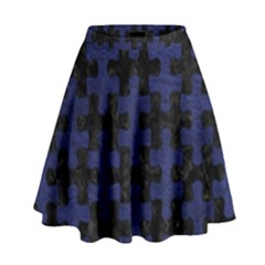 Puzzle1 Black Marble & Blue Leather High Waist Skirt by trendistuff