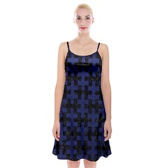Puzzle1 Black Marble & Blue Leather Spaghetti Strap Velvet Dress by trendistuff