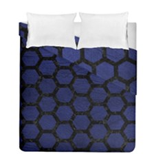 Hexagon2 Black Marble & Blue Leather (r) Duvet Cover Double Side (full/ Double Size) by trendistuff