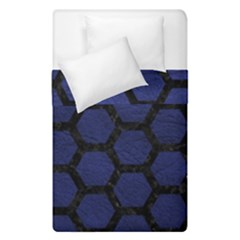Hexagon2 Black Marble & Blue Leather (r) Duvet Cover Double Side (single Size) by trendistuff