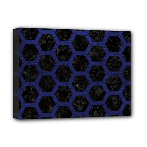 Hexagon2 Black Marble & Blue Leather Deluxe Canvas 16  X 12  (stretched)  by trendistuff