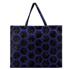 Hexagon2 Black Marble & Blue Leather Zipper Large Tote Bag by trendistuff