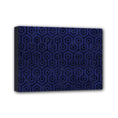 Hexagon1 Black Marble & Blue Leather (r) Mini Canvas 7  X 5  (stretched) by trendistuff