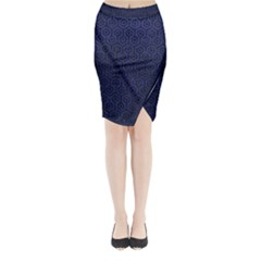 Hexagon1 Black Marble & Blue Leather (r) Midi Wrap Pencil Skirt by trendistuff
