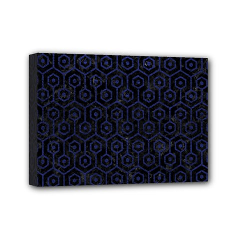 Hexagon1 Black Marble & Blue Leather Mini Canvas 7  X 5  (stretched) by trendistuff