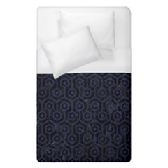 Hexagon1 Black Marble & Blue Leather Duvet Cover (single Size) by trendistuff