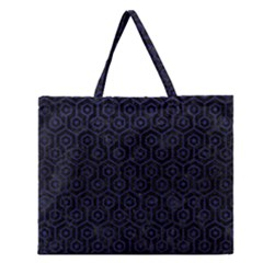 Hexagon1 Black Marble & Blue Leather Zipper Large Tote Bag by trendistuff