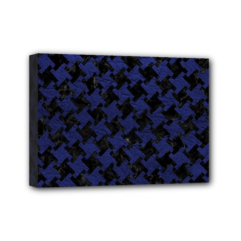 Houndstooth2 Black Marble & Blue Leather Mini Canvas 7  X 5  (stretched) by trendistuff