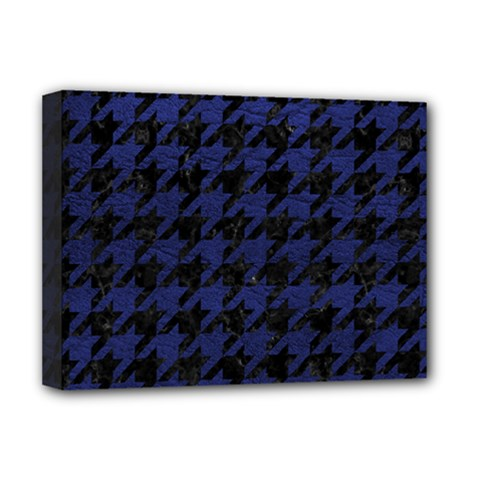 Houndstooth1 Black Marble & Blue Leather Deluxe Canvas 16  X 12  (stretched)  by trendistuff