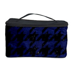 Houndstooth1 Black Marble & Blue Leather Cosmetic Storage Case by trendistuff