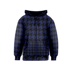 Houndstooth1 Black Marble & Blue Leather Kids  Zipper Hoodie by trendistuff