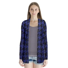 Houndstooth1 Black Marble & Blue Leather Drape Collar Cardigan by trendistuff