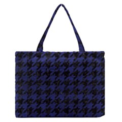Houndstooth1 Black Marble & Blue Leather Medium Zipper Tote Bag by trendistuff
