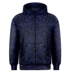 Damask2 Black Marble & Blue Leather (r) Men s Zipper Hoodie by trendistuff