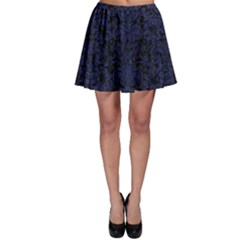 Damask2 Black Marble & Blue Leather Skater Skirt by trendistuff