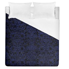 Damask2 Black Marble & Blue Leather Duvet Cover (queen Size) by trendistuff