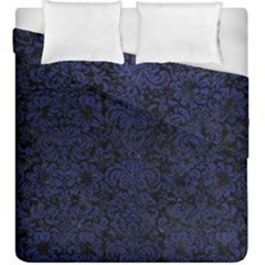 Damask2 Black Marble & Blue Leather Duvet Cover Double Side (king Size) by trendistuff