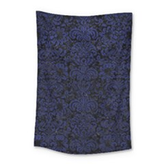 Damask2 Black Marble & Blue Leather Small Tapestry by trendistuff