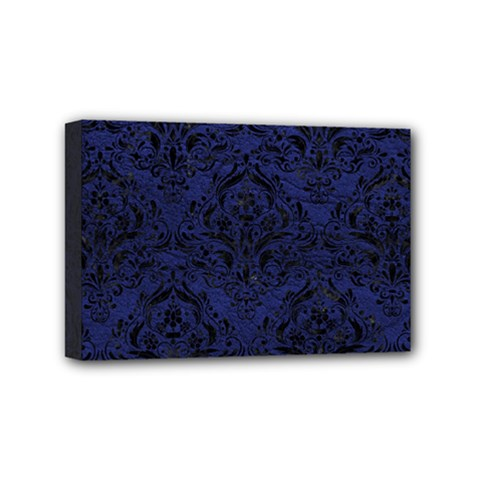 Damask1 Black Marble & Blue Leather (r) Mini Canvas 6  X 4  (stretched) by trendistuff