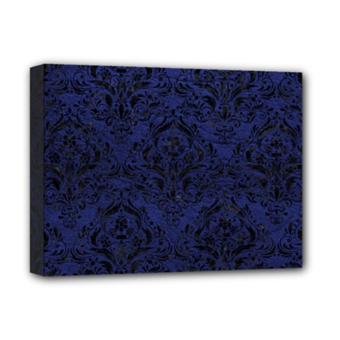 Damask1 Black Marble & Blue Leather (r) Deluxe Canvas 16  X 12  (stretched)  by trendistuff