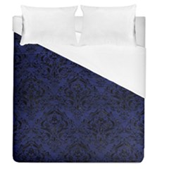 Damask1 Black Marble & Blue Leather (r) Duvet Cover (queen Size) by trendistuff