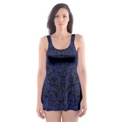Damask1 Black Marble & Blue Leather (r) Skater Dress Swimsuit by trendistuff