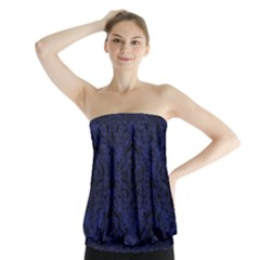 Damask1 Black Marble & Blue Leather (r) Strapless Top by trendistuff