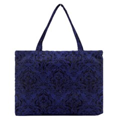 Damask1 Black Marble & Blue Leather (r) Medium Zipper Tote Bag by trendistuff