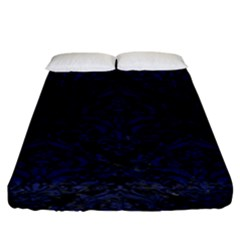 Damask1 Black Marble & Blue Leather Fitted Sheet (king Size)